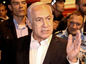 Israeli Prime Minister Benjamin Netanyahu tours the city of Lod this week after declaring a state of emergency in the city