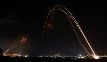 The Iron Dome intercepting a rocket from Gaza above the city of Ashdod on Tuesday.