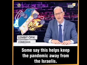 A screenshot of former British politician Lembit Opik's monologue about Israel not allowing vaccines into Gaza.