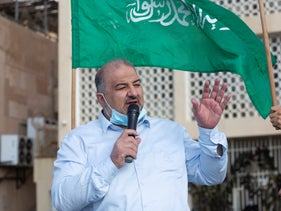 Mansour Abbas speaks at a protest, last year.