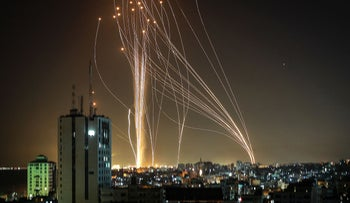 Rockets fired from Gaza toward the center of Israel last night.