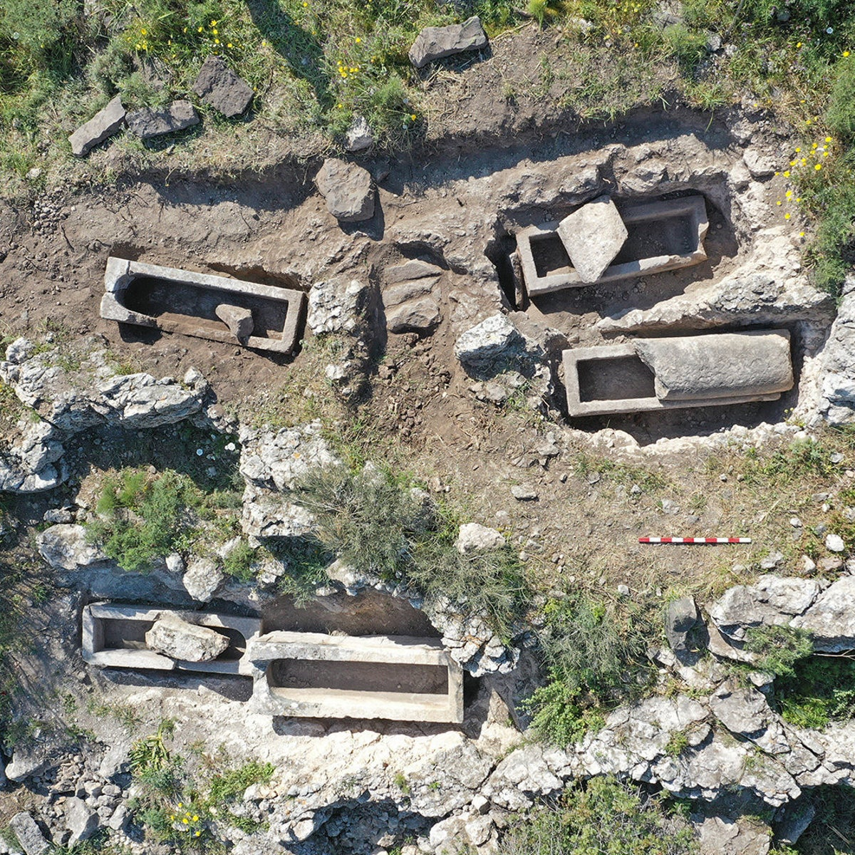An aerial shot of graves at the Hippos archaeological site.