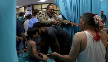 An emergency room in Gaza on Tuesday during Israel's airstrikes.