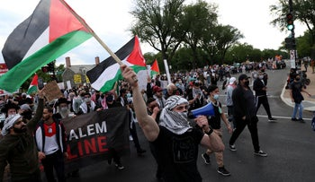 Pro-Palestinian demonstrators march in Washington in protest over the planned evictions in Sheikh Jarrah, on Tuesday.