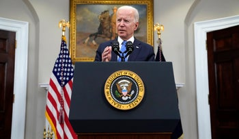 President Joe Biden delivers remarks about the Colonial Pipeline hack, in the Roosevelt Room of the White House.