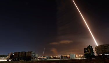 An Iron Dome launch in Ashkelon, earlier this evening