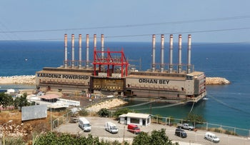 Karadeniz Powership Orhan Bey, an electricity-generating ship from Turkey, docked at the port in Beirut, in 2017.