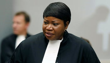 Prosecutor Fatou Bensouda at the International Criminal Court (ICC) in The Hague, Netherlands. The Prosecutor of the International Criminal Court, in 2018.