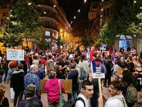 A rally organized by Standing Together, last night.