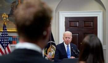 President Joe Biden responds to questions from the media at the White House on Thursday.