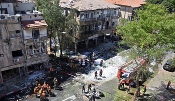 The aftermath of a rocket strike in Ramat Gan, today.