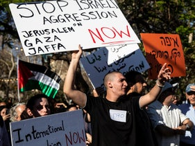 Residents of Jaffa protest, today.