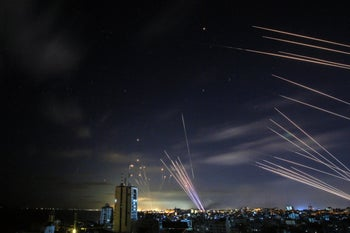 The Iron Dome system intercepting rockets fired at Israel from Gaza overnight.