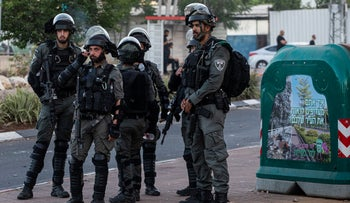 Border police forces in the mixed Arab-Jewish city of Lod, last week.