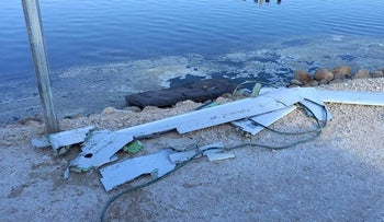 Pieces of the downed drone that crossed into Israel today.