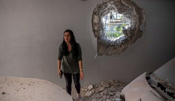The wall of a parking garage in Ashkelon that was hit by a Qassam rocket launched from Gaza, last week.