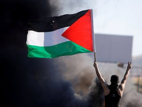 A Palestinian during an anti-Israel protest near Hawara checkpoint near Nablus on Tuesday.