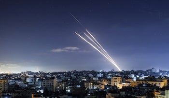 Rockets are launched towards Israel from Gaza City, controlled by the Palestinian Hamas movement, yesterday.