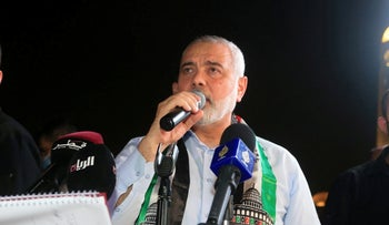 Palestinian group Hamas' top leader, Ismail Haniyeh speaks during a protest to express solidarity with the Palestinian people amid a flare-up of Israeli-Palestinian violence, in Qatar, last week.