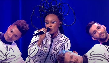 """Eden Alene performs """"Set Me Free"""" during first semi-final of the 2021 Eurovision Song Contest in Rotterdam, Netherlands."""