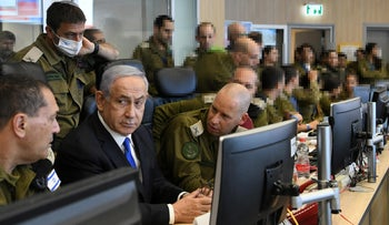 Prime Minister Benjamin Netanyahu during visit to the military headquarters in central Tel Aviv, today.