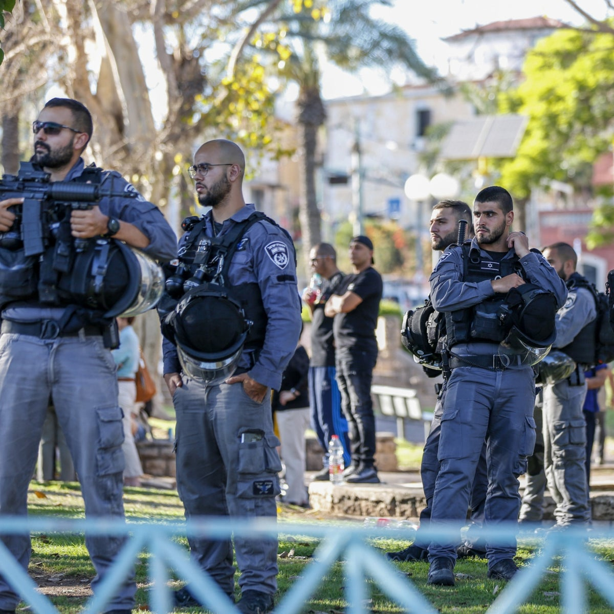 Police patrolling during a protest at Jaffa's Gan Hashnayim, Tuesday.