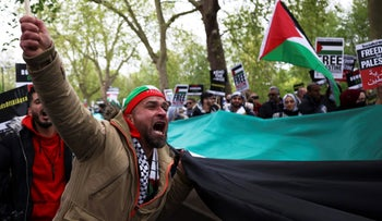 A protester attending a solidarity march for the Palestinians, in central London last weekend.