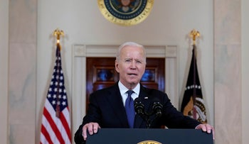 President Joe Biden speaks about a cease-fire between Israel and Hamas, at the White House, Thursday.