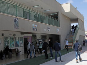 Students outside the high school in the Bedouin town Kuseife in southern Israel, in February.