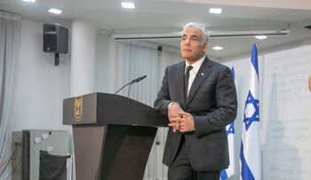 Yair Lapid at a press conference earlier this month.