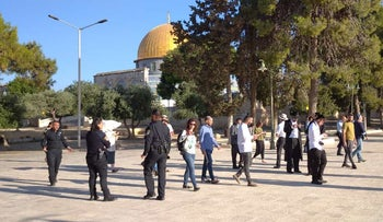 Jewish visitors in the Temple Mount complex, today.