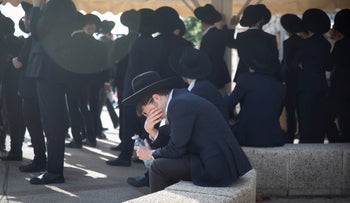 Mourners at the funeral of Moshe Ben Shalom, killed in the Mount Meron stampede, last month.