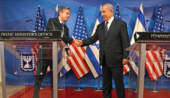 Blinken and Netanyahu at a press conference in Jerusalem on Tuesday.