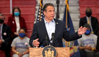 New York Governor Andrew Cuomo speaking to reporters in Brentwood, New York, last month.
