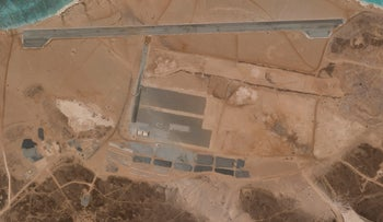 A mysterious air base is seen being built on Yemen's volcanic Mayun Island last month.