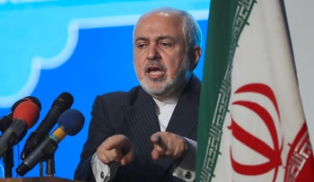 Iran's Foreign Minister Mohammad Javad Zarif addresses a conference in Tehran, in February.