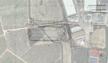 Plans of the planned Amazon center in Israel. The plan can be seen overlaid on an aerial picture of the region.