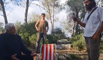 Screenshot from footage of the Arab family being kicked out of a park in the West Bank, in February.