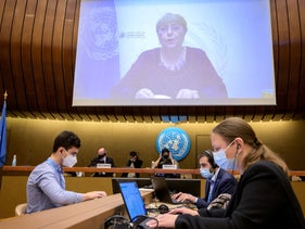 United Nations High Commissioner for Human Rights Michelle Bachelet delivering her speech remotely to the UN Human Rights Council in Geneva regarding Israel and Gaza on Thursday.
