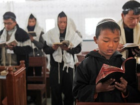 Bnei Menashe praying at a synagogue in India's northeastern state of Manipur in 2012.