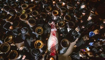 The funeral in Jerusalem of one of the 45 people killed at Mount Meron, in early May.