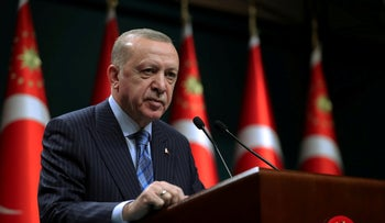 Turkish President Tayyip Erdogan gives a statement after a cabinet meeting in Ankara, Turkey, this month.