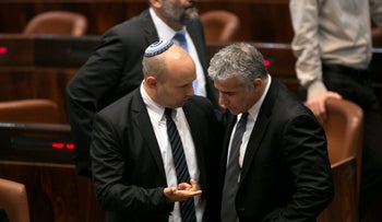 Naftali Bennett and Yair Lapid at the Knesset in 2014.