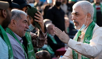 Yahya Sinwar, Palestinian leader of Hamas in the Gaza Strip, greets supporters at a rally in Gaza City, last week.