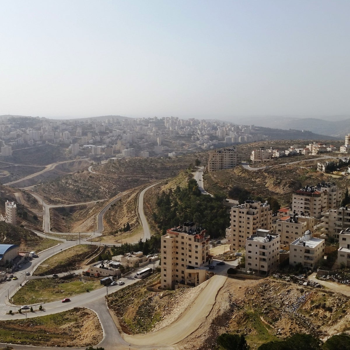 An aerial image of Ramallah neighborhoods. 'Even though Ramallah has some specific characteristics, one has to keep in mind that it is under the same exact military occupation.'