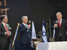 Netanyahu at the ceremony for the new Mossad Chief David Barnea and outgoing Mossad Chief Yossi Cohen, Tuesday.