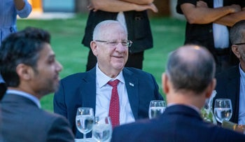 President Reuven Rivlin during the Eid al-Fitr feast in the presidential residence in Jerusalem, last month.