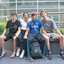 Daniel Zuckerman(second from right), lives in Mexico City and flying there, and friends seeing him off: David Serfaty, Alexia Dorfman, and Eric Cohen.