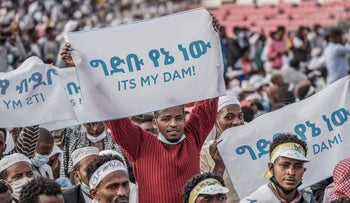People hold placards to express their support for Ethiopia's mega-dam on the Blue Nile River n Addis Ababa, Ethiopia, last month.