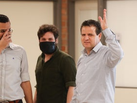Joint List leader Ayman Odeh gestures during coalition talks in central Israel, last week.